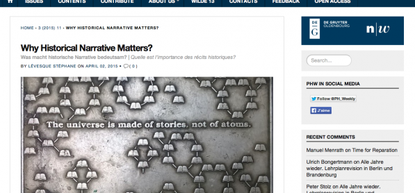 Quelle est l'importance des récits historiques? - Le prof. Lévesque parle de l'importance des récits historiques dans la revue Public History Weekly
