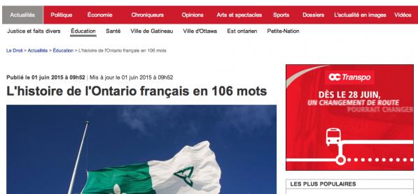 L'histoire de l'Ontario français en 106 mots... - Article du journal Le Droit sur l'étude du professeur Lévesque