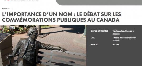 Le débat sur les commémorations publiques au Canada - Table ronde sur les commémorations publiques au Canada, Musée canadien d'histoire